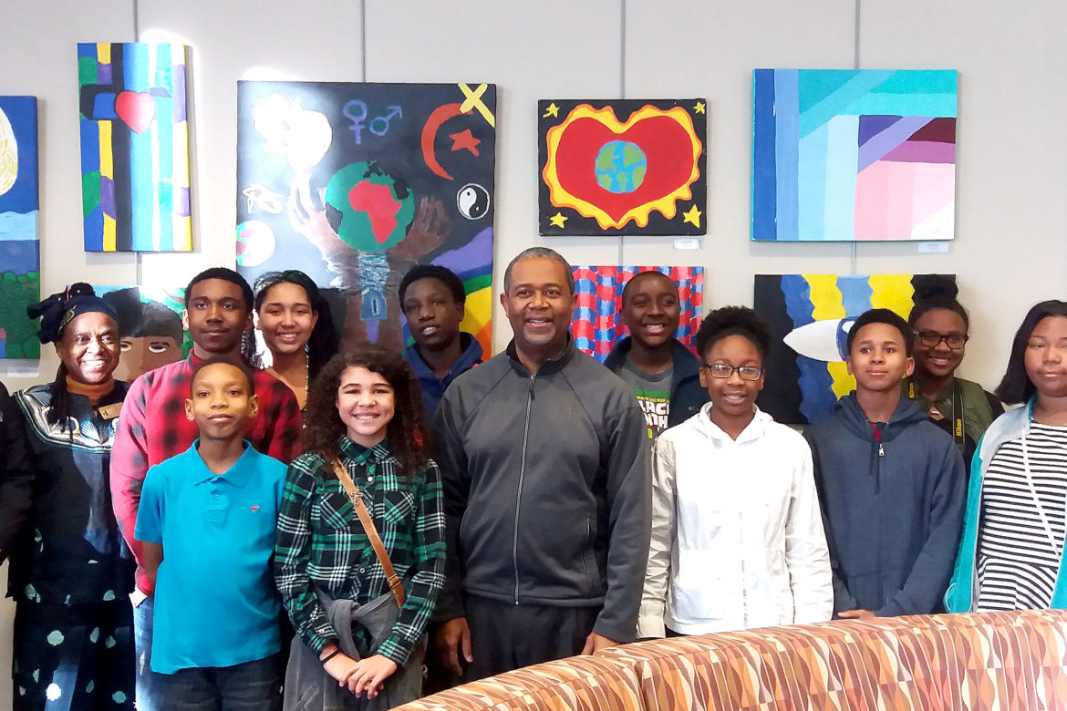 Mayor Hardie Davis poses with the Artists featured in the JNSA Student exhibition, February 10, 2017